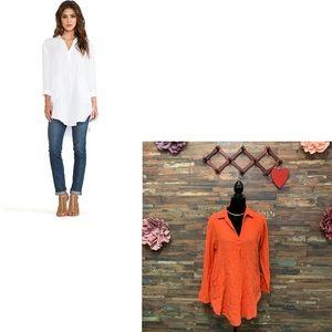MICHAEL STARS | Orange Textured Tunic w/Pockets M